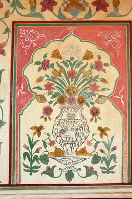 Fresco, Amber Fort, Jaipur, Rajasthan Poster