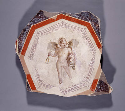 Fresco Depicting Cupid Holding Two Sticks And A Pail Poster by Litz Collection