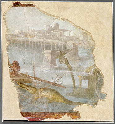 Fresco Fragment With Nilotic Landscape Unknown Italy Poster by Litz Collection