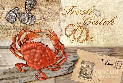 Fresh Catch Dungeness Crab Poster by Paul Brent