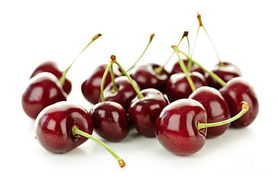 Fresh Cherries On White Poster by Elena Elisseeva