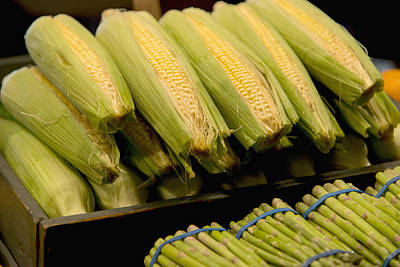 Fresh Corn On The Cob And Asparagus Poster by Keith Levit