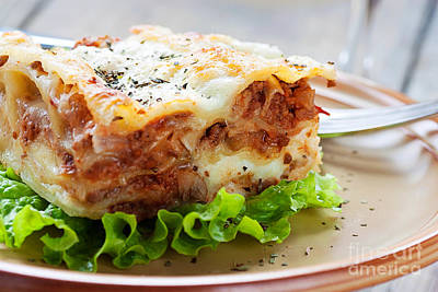 Fresh Homemade Lasagna Poster by Mythja  Photography