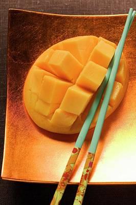 Fresh Mango, Cut Into Cubes, With Chopsticks Poster