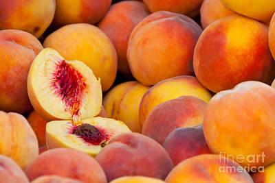 Fresh Organic Peaches  Poster by Leyla Ismet