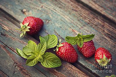 Fresh Strawberry Poster by Mythja  Photography
