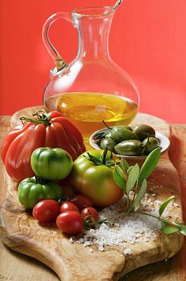 Fresh Tomatoes, Olives, Salt And Olive Oil Poster