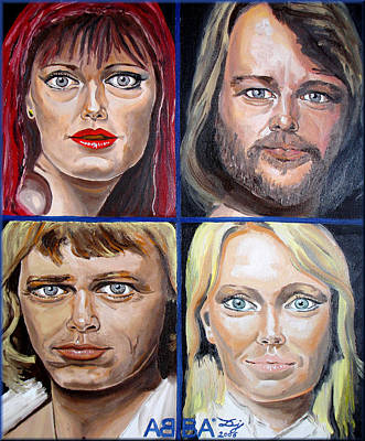 Poster featuring the painting Frida Benny Bjorn Agnetha by Daniel Janda