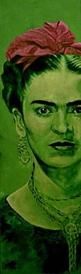 Frida Kahlo - Red Bow Poster by Richard Tito