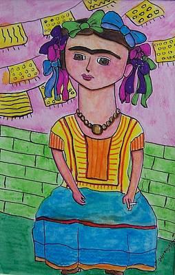 Friduchita Ribbons In My Hair Poster by Raquel Hinojosa