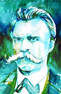Friedrich Nietzsche Watercolor Portrait.1 Poster by Fabrizio Cassetta
