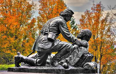 Friend To Friend - A Brotherhood Undivided - The Masonic Memorial At Gettysburg Close-2a Poster by Michael Mazaika