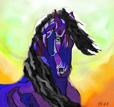 Friesian Stallion Poster by Tarja Stegars