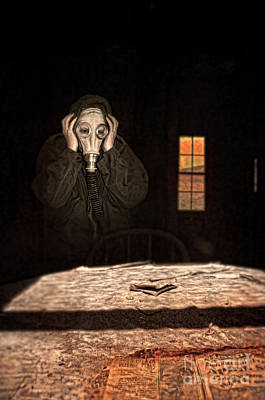 Frightened Person In Gas Mask Poster by Jill Battaglia