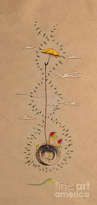 Frog And Dragonflies Poster by David Breeding