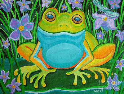 Frog On A Lily Pad Poster by Nick Gustafson