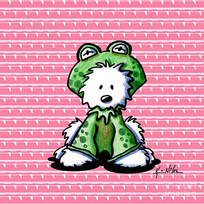 Frog Prince Westie Dog Poster by Kim Niles