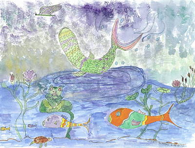 Poster featuring the painting Froggy Delight And Fly Fishing by Helen Holden-Gladsky