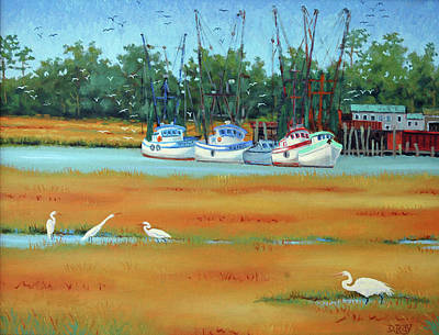 Poster featuring the painting Frogmore Boats by Dwain Ray