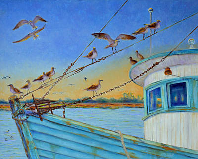 Poster featuring the painting Frogmore Shrimp Birds by Dwain Ray
