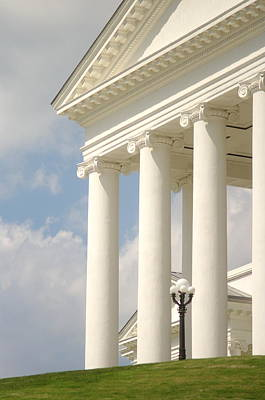 Poster featuring the photograph Front Porch Of Virginia State Capitol Richmond Va by Suzanne Powers