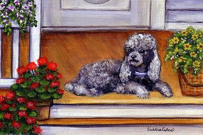 Poster featuring the painting Front Porch Poodle by Sandra Estes