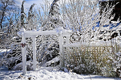 Front Yard Of A House In Winter Poster