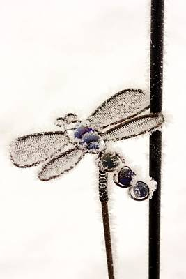 Frosty Dragonfly Yard Ornament Poster