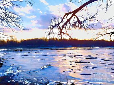 Frozen Delaware River Sunset Poster by Robyn King