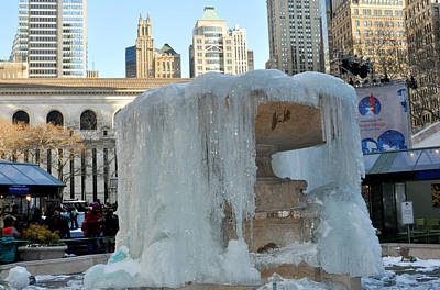 Frozen Fountain In Bryant Park New York Poster by Diane Lent