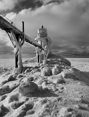 Frozen Grand Haven Lighthouse Black And White Poster by Dan Sproul