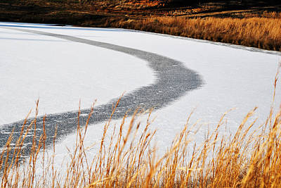Poster featuring the digital art Frozen Lake by Linda Segerson