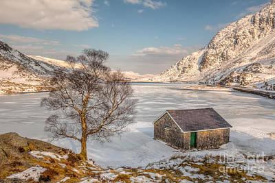 Frozen Lake Ogwen Poster by Adrian Evans