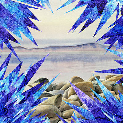 Frozen Lake Tahoe Abstract Collage Poster by Irina Sztukowski