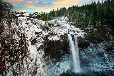 Frozen Snoqualmie Falls Poster by Inge Johnsson