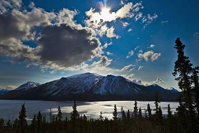 Frozen Tagish Lake And Mountains Poster by Blake Kent