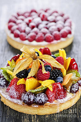 Fruit And Berry Tarts Poster by Elena Elisseeva