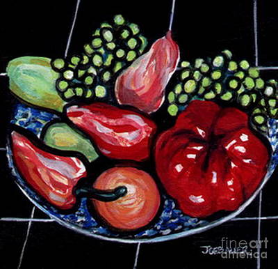 Poster featuring the painting Fruit And Peppers by Joyce Gebauer