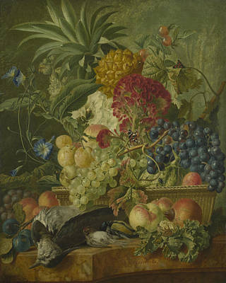 Fruit Flowers And Dead Birds Poster by Wybrand Hendriks