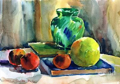 Fruits And Artbooks Poster by Anna Lobovikov-Katz