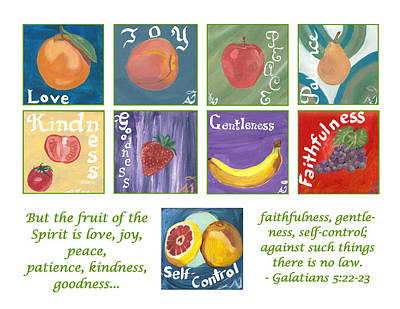 Fruits Of The Holy Spirit - White Background Poster by Amber Joy Eifler