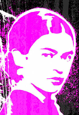 Poster featuring the mixed media Fuchsia Frida by Michelle Dallocchio