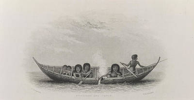 Fuegians And Canoe Poster by British Library