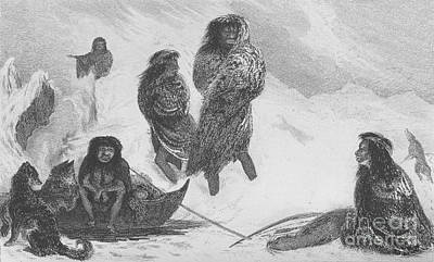 Fuegians From Darwins Beagle Voyage Poster by Wellcome Images