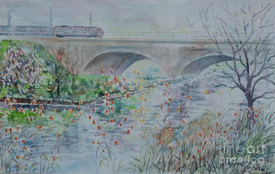 Poster featuring the painting Fuerth Seven Arch Bridge Siebenbogenbruecke  by Alfred Motzer