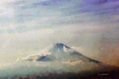 Poster featuring the painting Fuji Among The Clouds by Kai Saarto