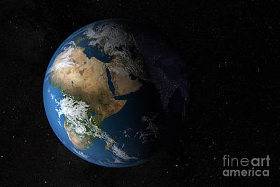 Full Earth Showing Simulated Clouds Poster