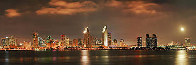 Poster featuring the photograph Full Moon And San Diego Skyline Panorama by Lee Kirchhevel