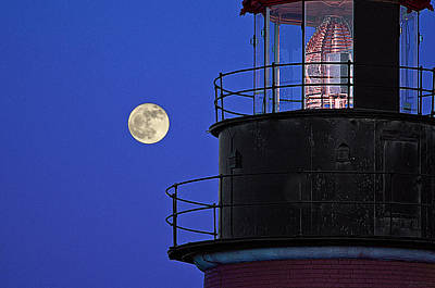 Poster featuring the photograph Full Moon And West Quoddy Head Lighthouse Beacon by Marty Saccone