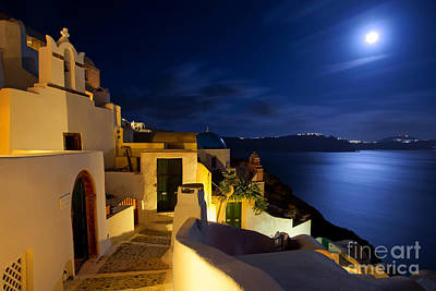 Full Moon At Santorini Poster